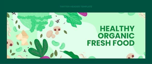 Плоский дизайн заголовка twitter органических продуктов питания