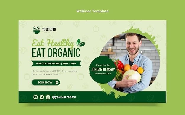Modello di webinar sugli alimenti biologici di design piatto