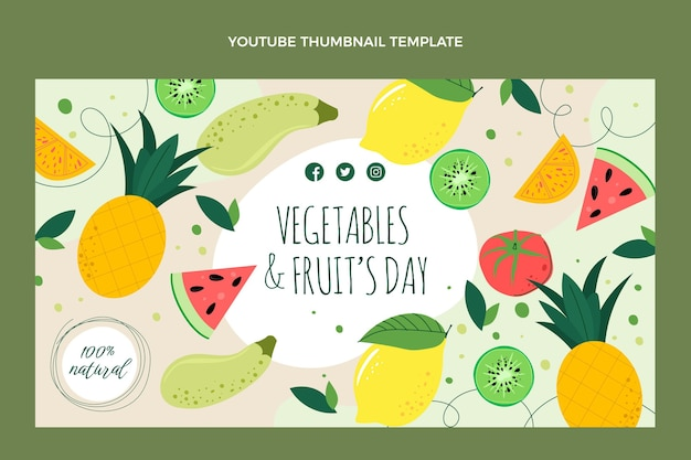 Miniatura di youtube per alimenti biologici dal design piatto