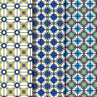 평면 디자인 장식 아랍어 패턴 세트