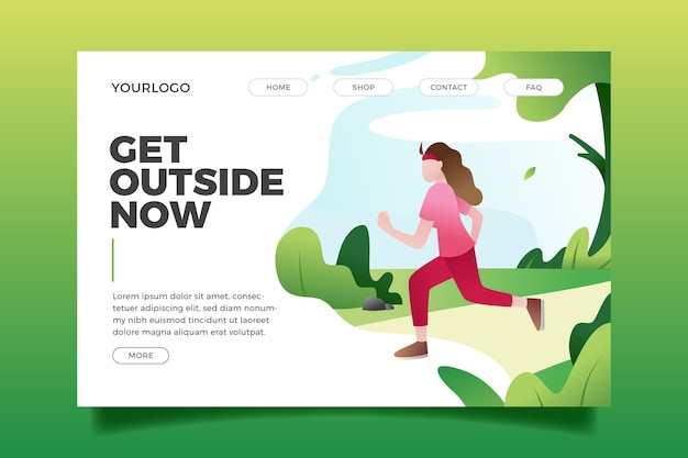 Flat design outdoor sport landing page template