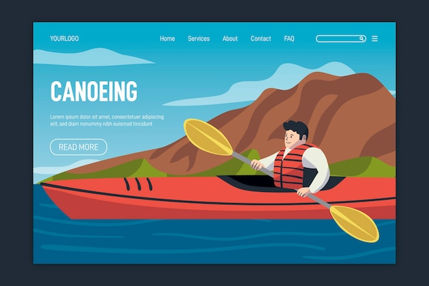 Flat design outdoor sport template landing page
