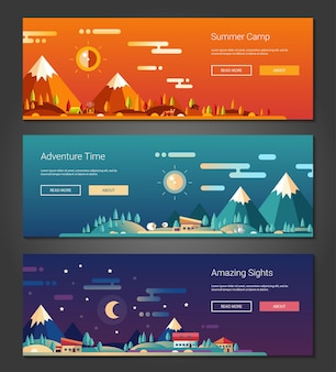 Flat design outdoors activity and tourism landscapes banners set