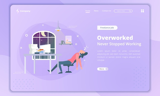 Flat design of overworked for freelancer landing page