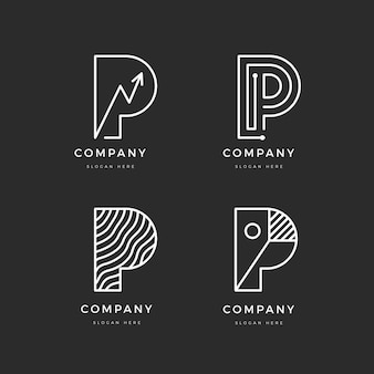 Flat design p logo template collection