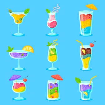 Flat design pack of delicious cocktails