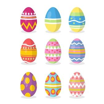 Flat design pack easter day egg