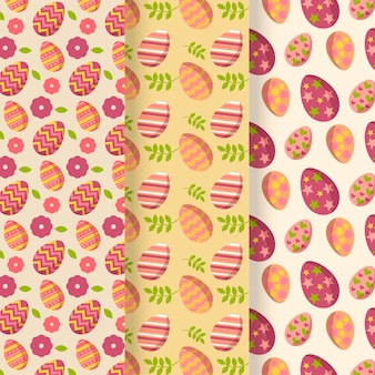 Flat design pack easter day pattern