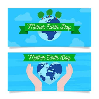 Плоский дизайн пакета день матери-земли баннер