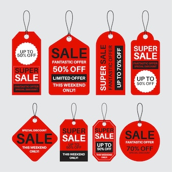 Flat design pack of sales tags with discounts Free Vector