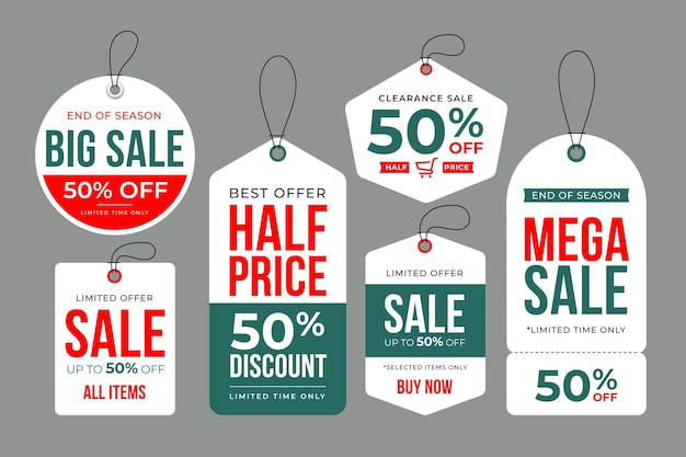 Flat design pack of sales tags