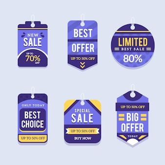 Pacchetto design piatto di tag di vendita