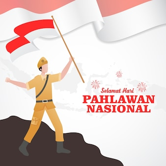 Плоский дизайн pahlawan день героев иллюстрации