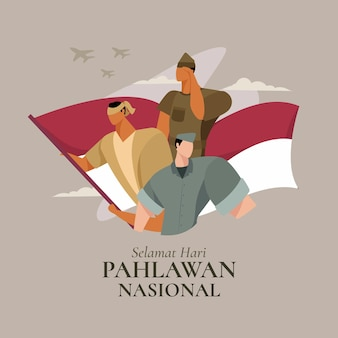 Flat design pahlawan heroes' day illustration