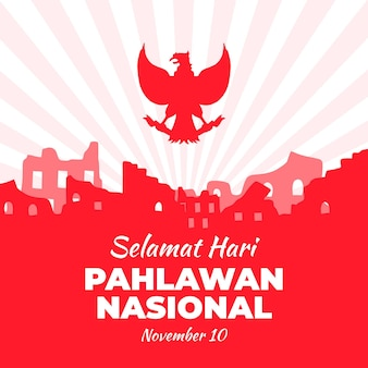 Flat design pahlawan nasional celebration