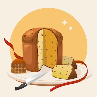 Flat design panettone illustration with knife