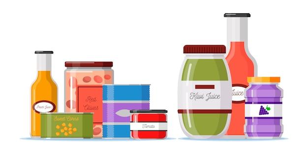 Кладовая в плоском дизайне с контейнерами для еды