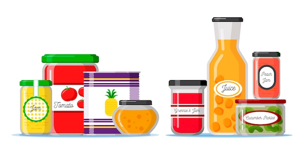 Flat design pantry with spices and ingredients containers