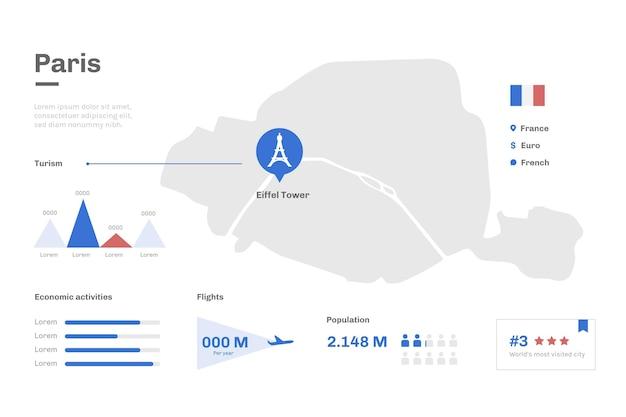 フラットデザインパリ地図観光統計 Premiumベクター