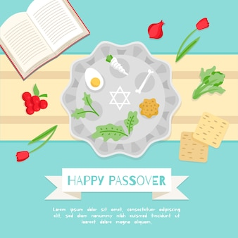 Flat design passover event illustration