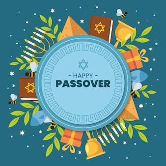 Flat design passover event with gifts