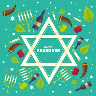 Flat design passover event with jewish symbol