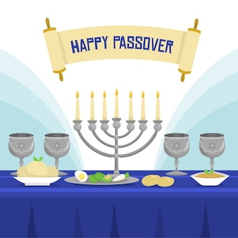Flat design passover festive meal