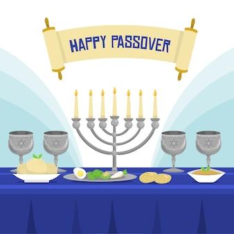 Flat design passover festive meal