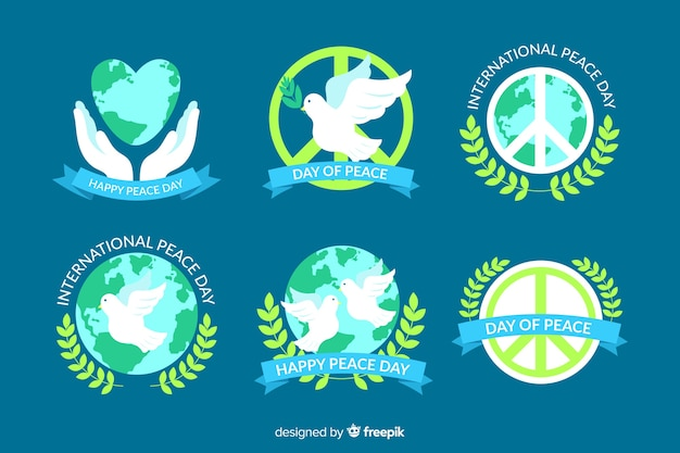 Flat design peace day badge collection