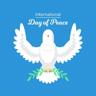 Flat design peace day celebration with dove