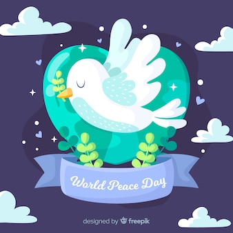 Flat design peace day dove flying