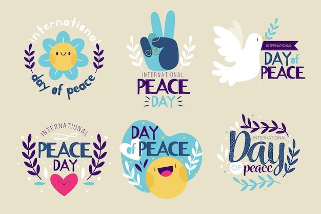 フラットなデザインの平和デーイベントラベル
