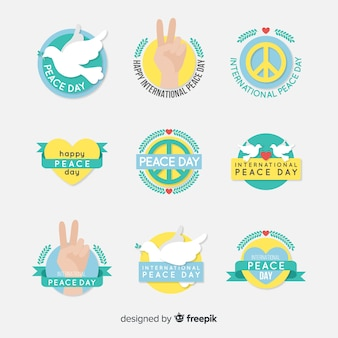 Flat design peace day label collection