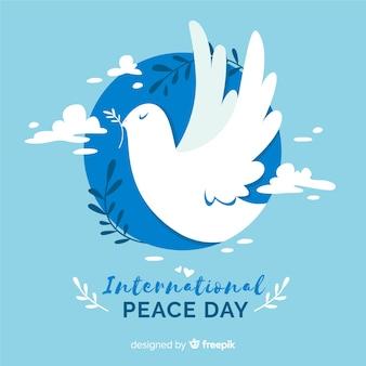 Плоский дизайн мирного дня с голубем