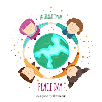 Flat design peace day with children