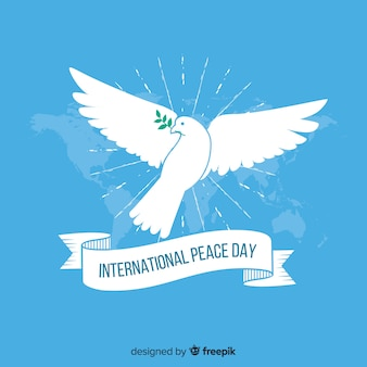Flat design peace day with dove