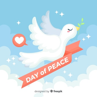 Flat design peace day with a dove