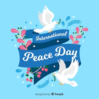 Flat design peace day with doves