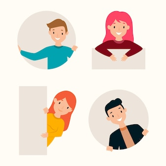 Flat design peeping people collection