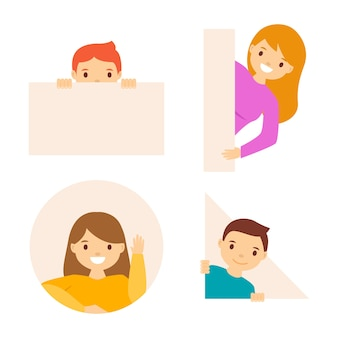 Flat design peeping people set