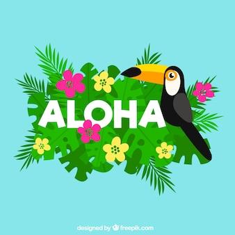 Flat design pelican aloha background
