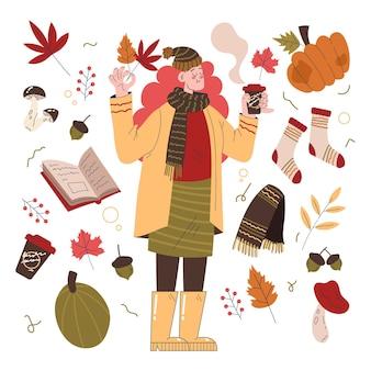 Flat designpeople in autumnillustration