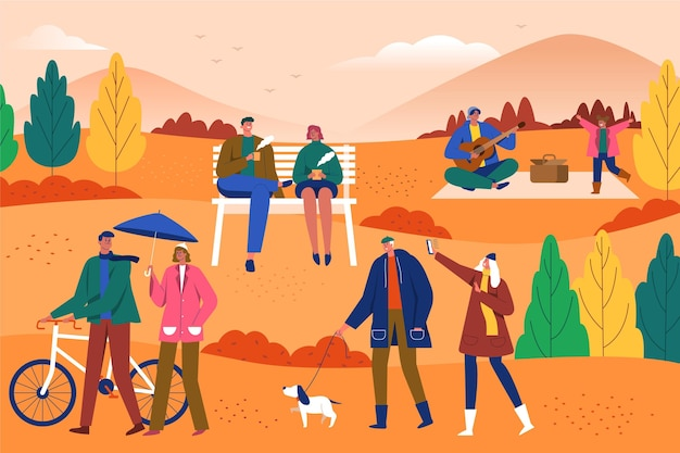 Flat design people in the autumn park
