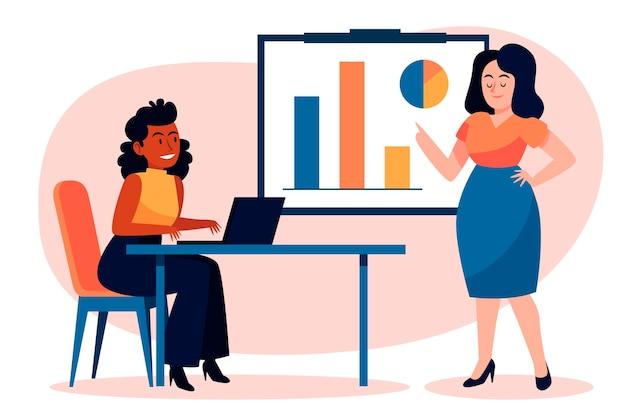 Persone di design piatto sulla formazione aziendale illustrata