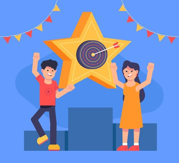 Flat design people celebrating a goal achievement