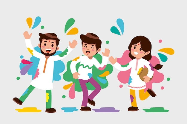 Flat design people celebrating holi festival