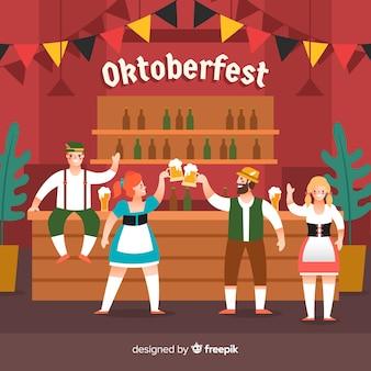 Flat design people celebrating okto