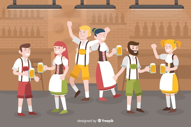 Flat design people celebrating oktoberfest
