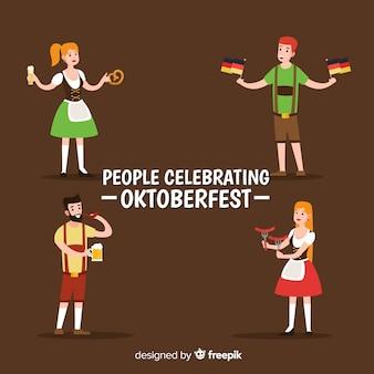 Flat design people celebrating oktoberfest
