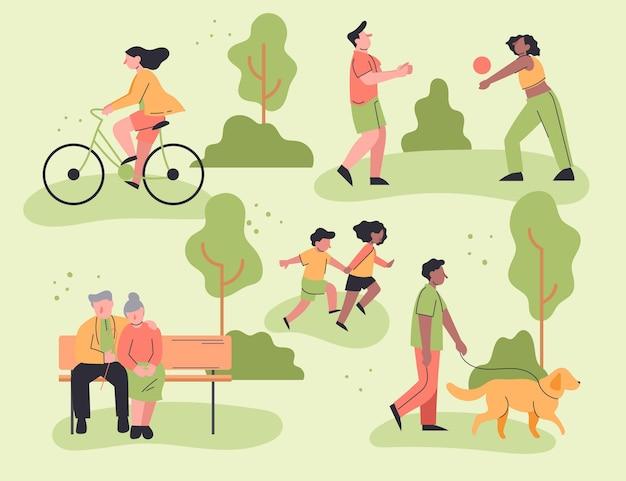 Плоский дизайн людей, занимающихся активным отдыхом